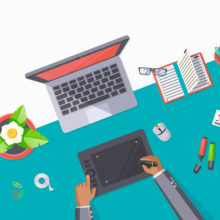 Modern office desk graphic