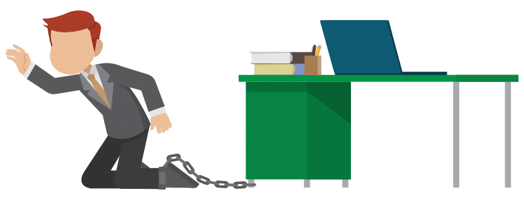 Man chained to his desk and laptop, trying to escape