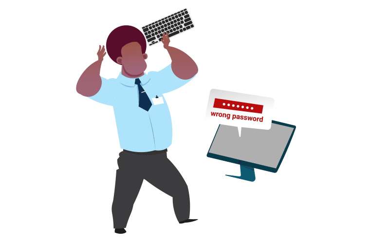 Man with wrong password about to smash keyboard against his monitor
