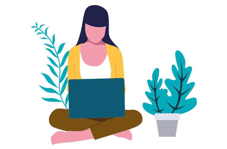 Woman working remotely in a nice environment surrounded by plants