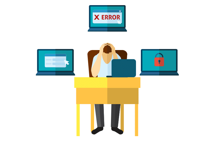Man sitting at desk with head in hands, surrounded by error screens