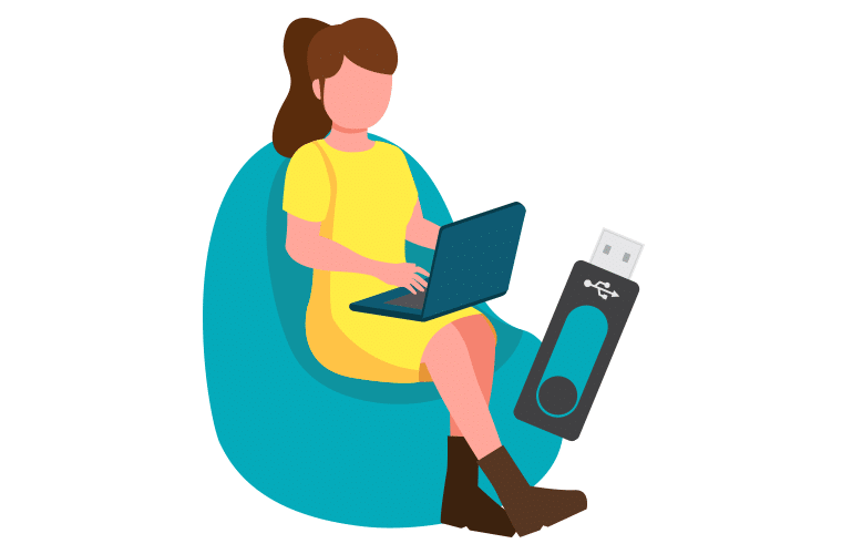 A woman sitting at home using a USB with her laptop