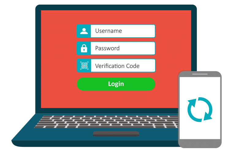 Picture of a computer with a password and a verification code required to log in