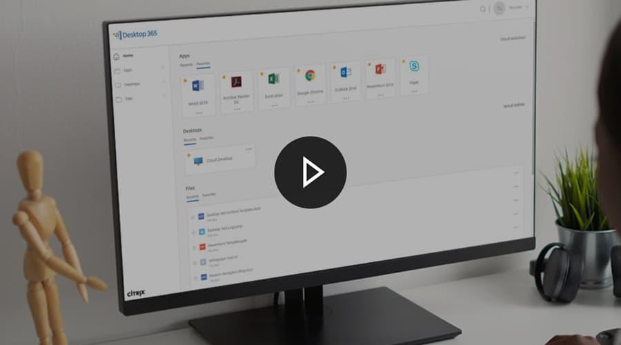 A user using Citrix Workspace on their desktop computer