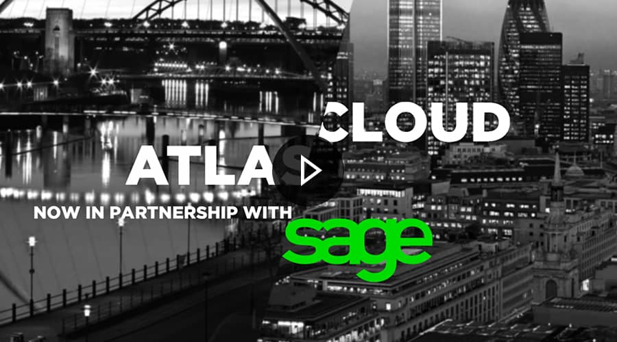 A split view of Newcastle and London with Atlas Cloud and Sage logo's overlaid