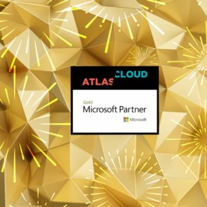 Gold background with Atlas Cloud and Microsoft Gold Partner Logos
